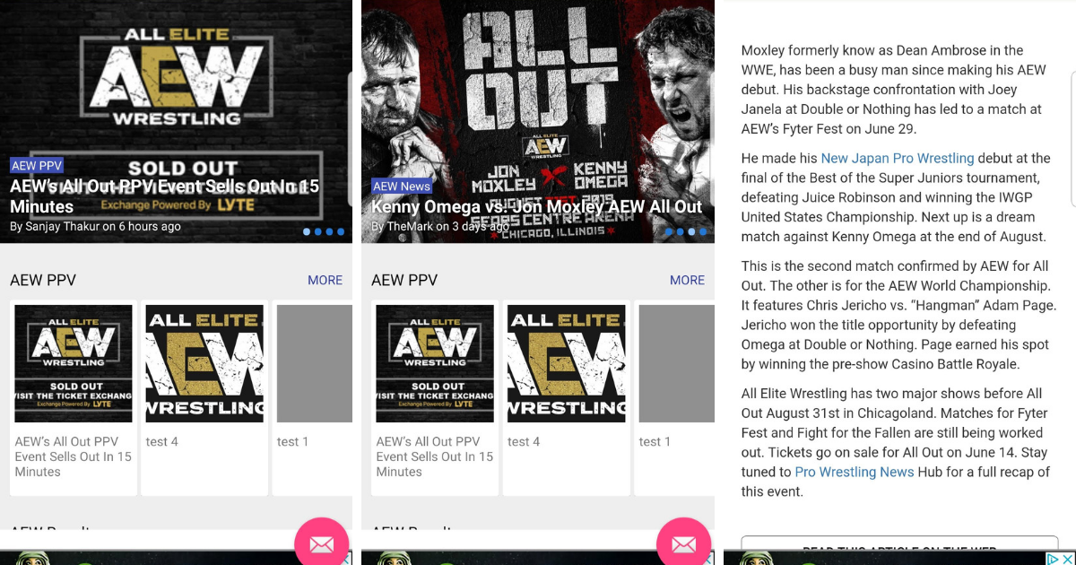 AEW News App For Android Phones & Tablets From Pro Wrestling